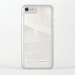 Relief [1]: an abstract, textured piece in white by Alyssa Hamilton Art Clear iPhone Case