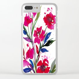 POCKETFUL OF POSIES 1, Colorful Summer Watercolor Floral Painting Abstract Red Blue Pink Flowers Art Clear iPhone Case