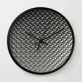 Dirty checkered steel plate Wall Clock