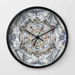 Newsprint Mandala in Silver, Topaz, and Sapphire Wall Clock