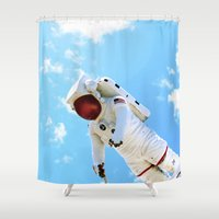 spaceman Shower Curtains featuring Spaceman by Richwill Company