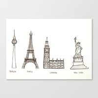 cities Canvas Prints featuring Cities by johanna strahl