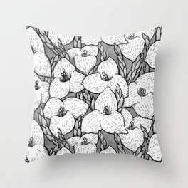 Puya Flowers Floral Pattern Greyscale Throw Pillow