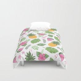Tropical Summer on white Duvet Cover