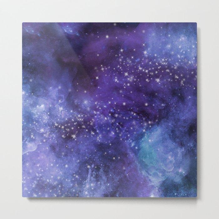 Stardust blue purple watercolor space Metal Print
