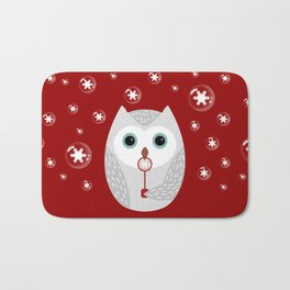 Christmas owl on red Bath Mat
