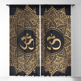 Golden mandala Blackout Curtain