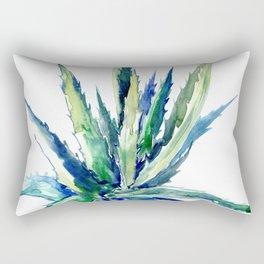 Aloe Succulent Plants turquoise blue Rectangular Pillow