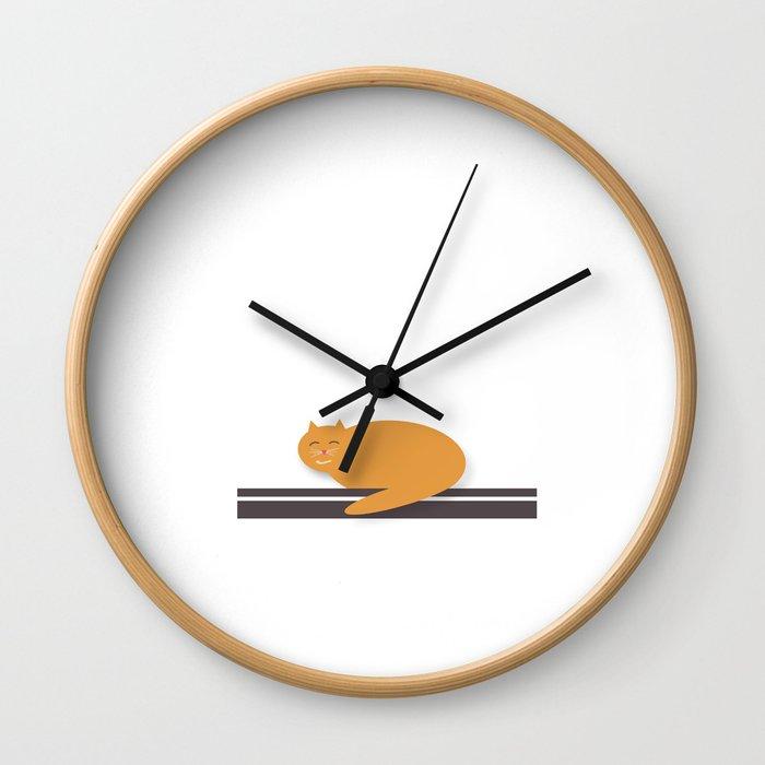 Happy Cat Nap Wall Clock