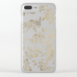 Vintage white faux gold roses floral Clear iPhone Case