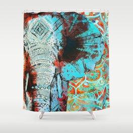 Indian Sketch Elephant Bohemian Hippie Indian Zen Elephants Art Shower Curtain