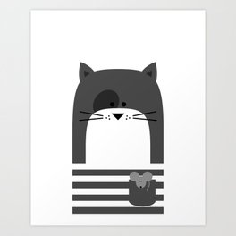 CAT WITH A MOUSE Art Print