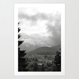 Carpathian Mountains Shrouded in Mist Art Print