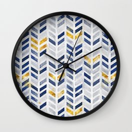 Herringbone chevron pattern.Indigo faux gold acrylic canvas Wall Clock