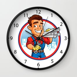 plumber worker with key in the hand Wall Clock