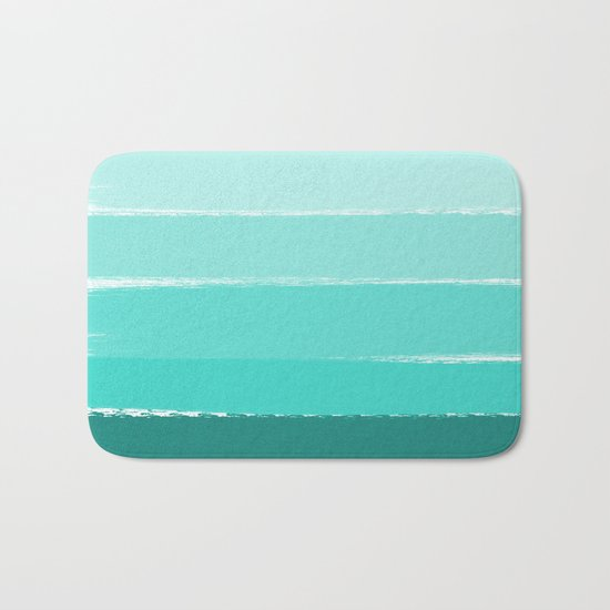 Ombre brushstrokes modern minimal ocean abstract painting wall art Bath Mat