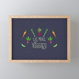 Eat more veggies! Dark version Framed Mini Art Print