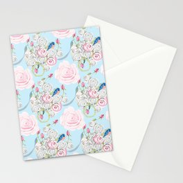 Shabby Chic Bluebirds and Watercolor Roses on pale blue Stationery Cards