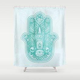 Aqua Eyes Hamsa Hand Metallic Mint Shower Curtain