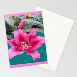 FUCHSIA PINK LILY TEAL ARTWORK Stationery Cards