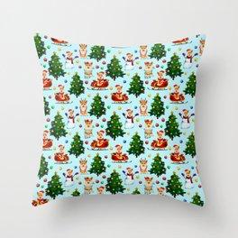 Blue Christmas - From Corgis, Santa And Christmas Trees Throw Pillow