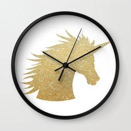 Gold Glitter Unicorn Wall Clock