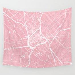 Dallas, Texas, City Map - Pink Wall Tapestry