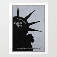 planet of the apes Art Prints featuring Planet of the Apes by Ayse Deniz