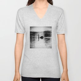 Black Swan with Reflection Black and White Unisex V-Neck
