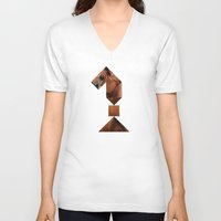 knight V-neck T-shirts featuring KNIGHT by TANGRAMMAR