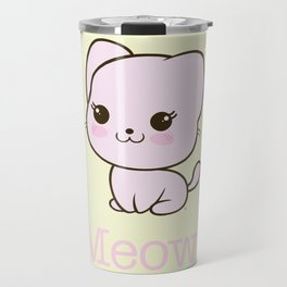 Pastel Kitten Kawaii Travel Mug