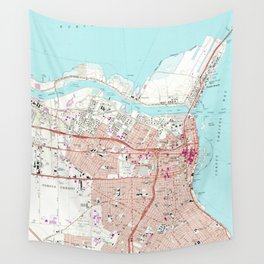 Vintage Map of Corpus Christi Texas (1968) Wall Tapestry
