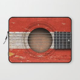 Old Vintage Acoustic Guitar with Austrian Flag Laptop Sleeve