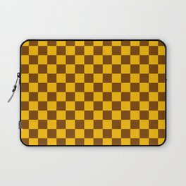 Amber Orange and Chocolate Brown Checkerboard Laptop Sleeve