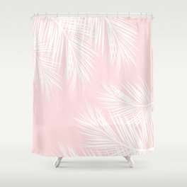 Modern white tropical palm tree on girly stylish pink Shower Curtain