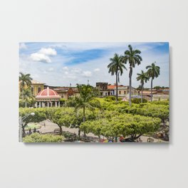 Red Gazebo and Trees Lining the Parque Colon de Granada in Nicaragua Metal Print