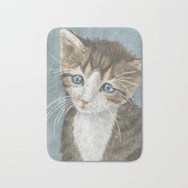 Kitten, watercolor potrait Bath Mat