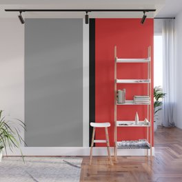 Two color and black&white. Gray and red Wall Mural
