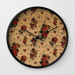 Retro rose tattoo Wall Clock