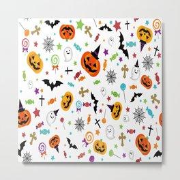 candy pumpkins bat helloween star hat Metal Print