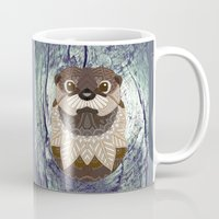 otters Mugs featuring Ornate Otter by ArtLovePassion