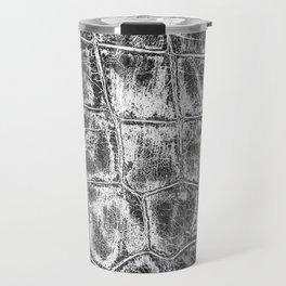 Alligator Skin // Black and White Worn Textured Pattern Animal Print Travel Mug