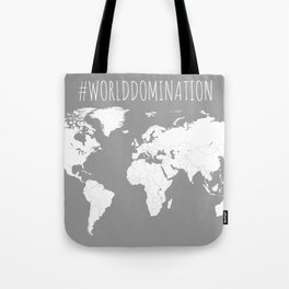 #WorldDomination World Map in Grey for Sales or Travel Tote Bag