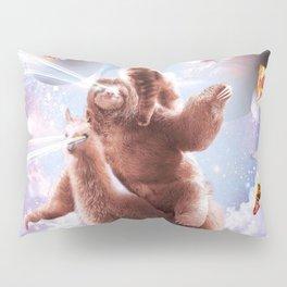 Laser Eyes Space Cat Riding Sloth, Llama - Rainbow Pillow Sham