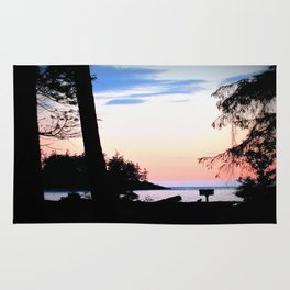 Pink Skies at Night - Deception Pass State Park, Whidbey Island, WA Rug