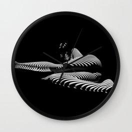8428-KMA BW Art Nude Abstract Zebra Stripe Woman Long Legs Wall Clock