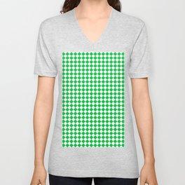 Small Diamonds - White and Dark Pastel Green Unisex V-Neck