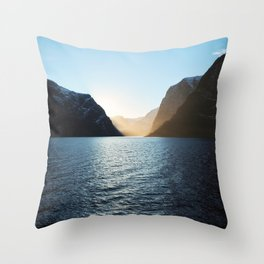 Nordic Sunset at Aurlandsfjord, Norway Throw Pillow