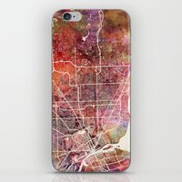 detroit iPhone & iPod Skins featuring Detroit by MapMapMaps.Watercolors