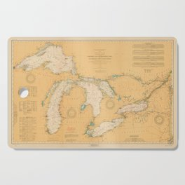 Vintage Map of The Great Lakes (1921) Cutting Board